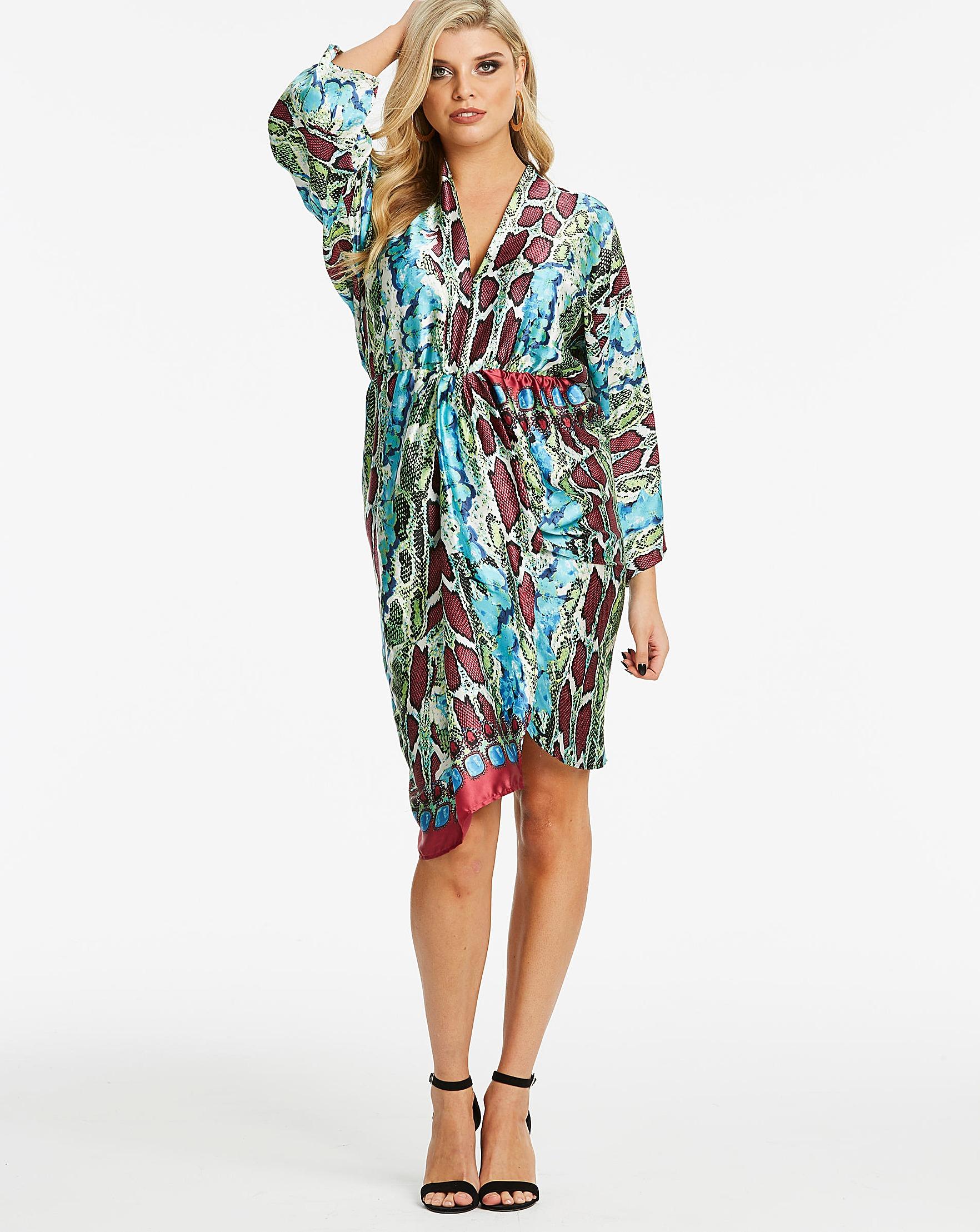 0abd2a1a24c AX Paris Curve Snake Print Satin Dress