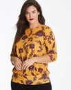 Ochre Floral 3/4 Sleeve Printed Top