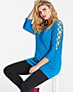 Azure Blue Criss Cross 3/4 Sleeve Top