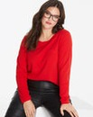 Red Long Sleeve Cotton Slub Top
