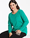 Green Long Sleeve Cotton Slub Top
