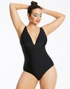 Plunge Neck Black Swimsuit