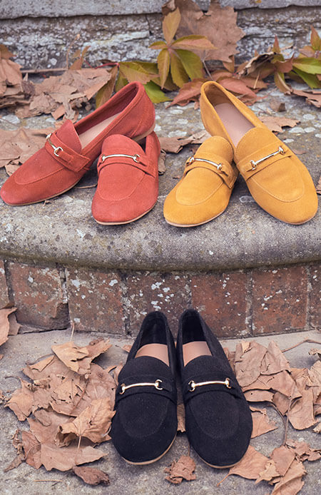 premium suede trim detail loafers