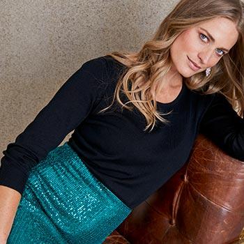 Model in Christmas partywear