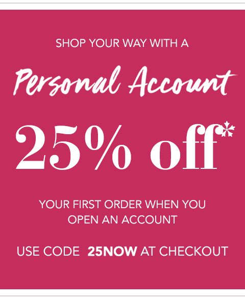 25 off with a personal account