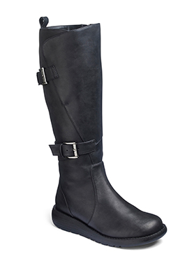 Double buckle high leg boot