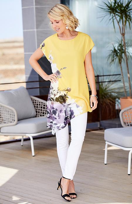 nightingales print asymmetric blouse