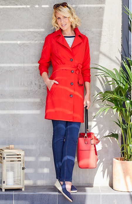 red single breasted belted mac