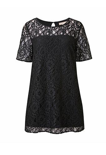 Black lace front jersey black blouse