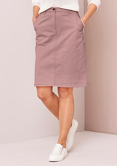 Blush comfort stretch chino skirt