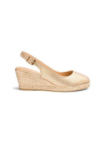 Gold wedge espadrille slingback sandals