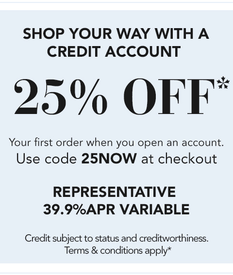 25 off with a credit account