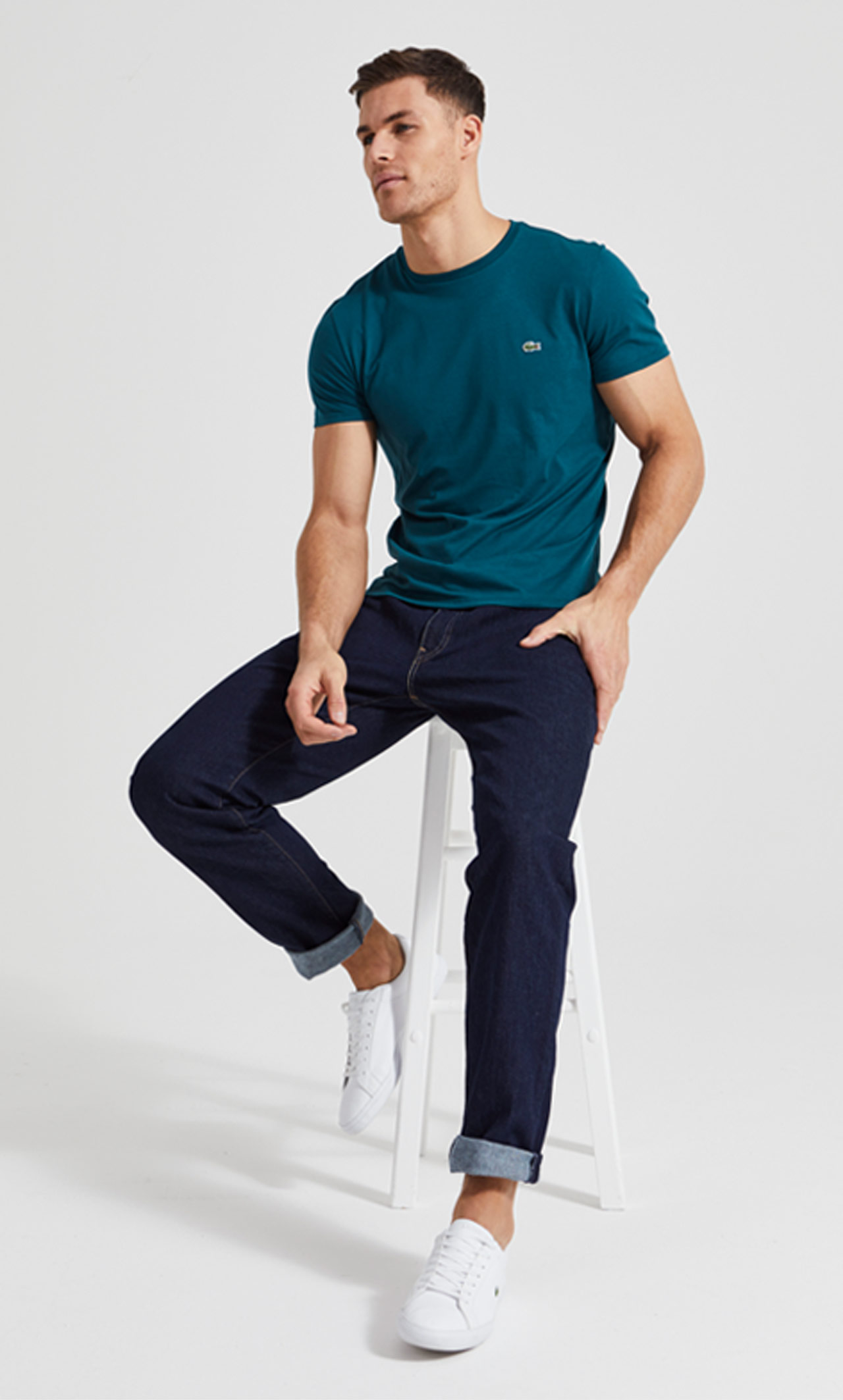 Model wearing Lacoste clothes