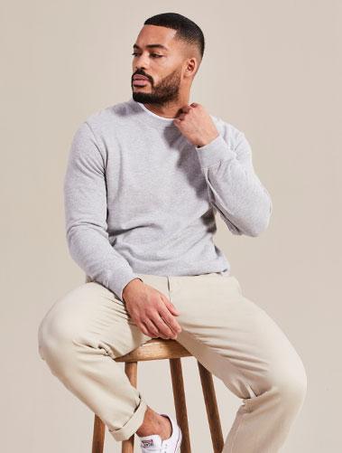 Jacamo model wearing Lacoste t-shirt