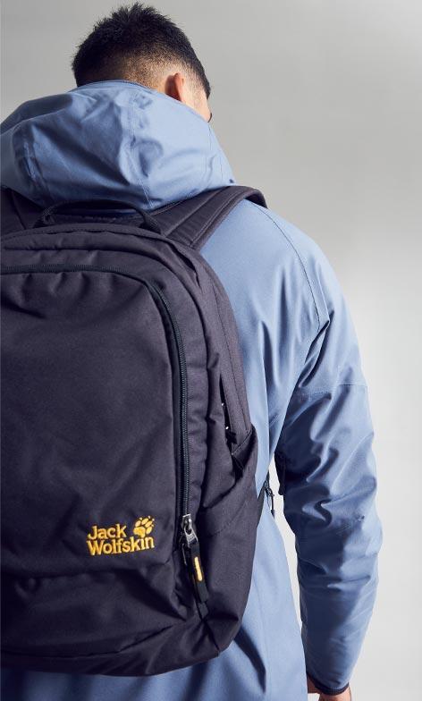 Model in Jack Wolfskin jacket with rucksack