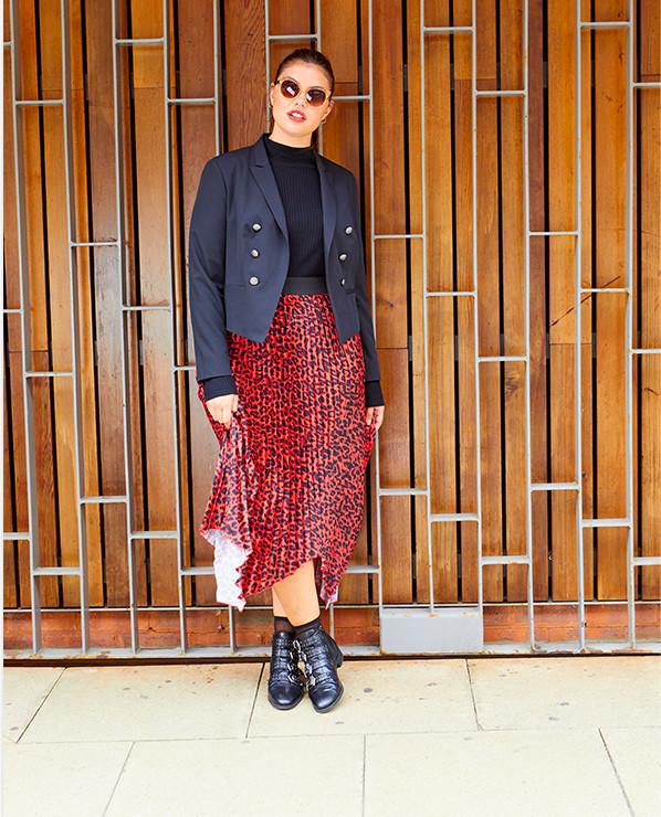 model shot animal print skirt