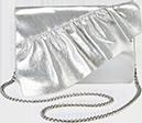 Scarlet Silver Ruffle Clutch Bag