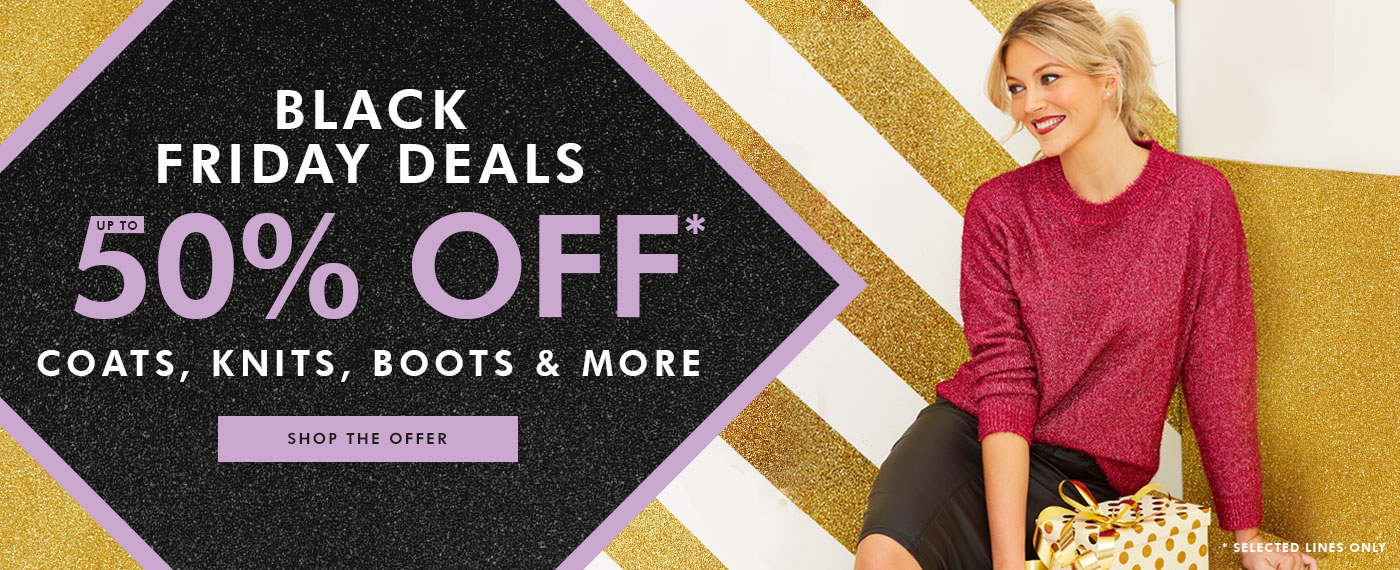 up to 50% off coats, knits & boots
