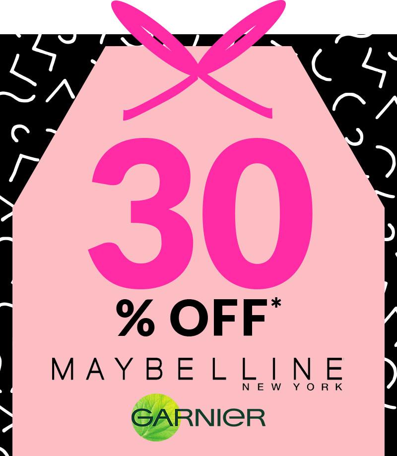 Up to 30% Off Maybelline & Garnier