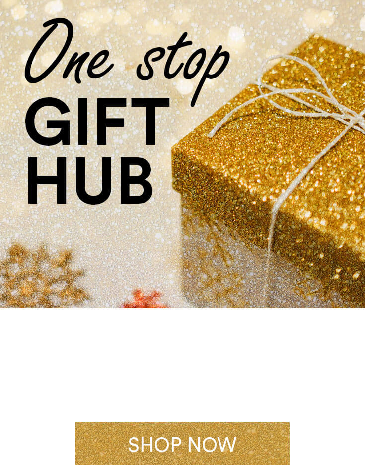 sparkly gift; text - one stop gift hub