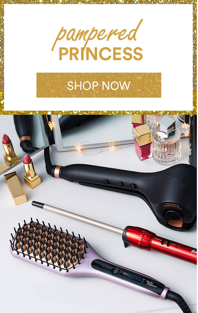 electric hairstyling tools; text - pampered princess