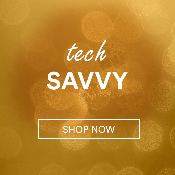 sparkles; text - tech savvy