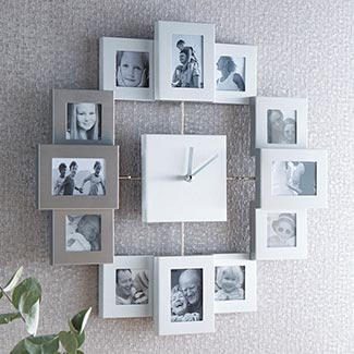 Clock and photo frames