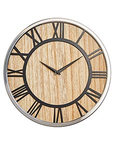 Mirror & Wood Wall Clock