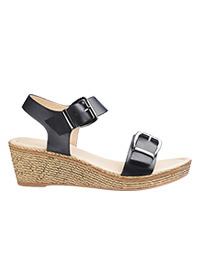 HEAVENLY SOLES DOUBLE BUCKLE WEDGE SANDALS WIDE E FIT