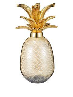 Smokey Glass Pineapple Sculpture