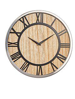 Mirror & Wood Wall Clock