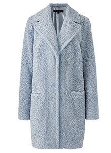 Pale Blue Teddy Fur Coat