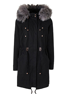 Padded Parka With Fur Trim