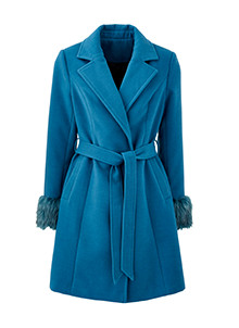 Wool Coat Fur Trim Cuff