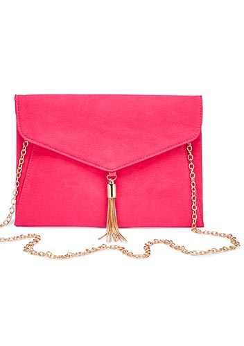 Tassel trim clutch bag