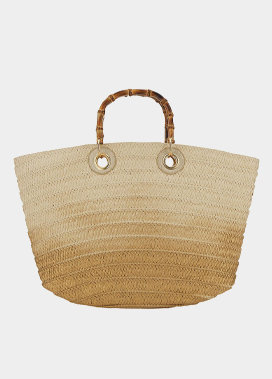 Bamboo Handle Ombre Gold Basket Tote