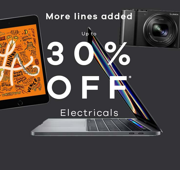 up to 30% off* electricals