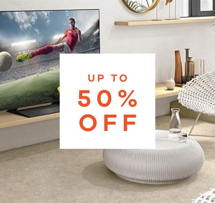 up to 50% off home and tech