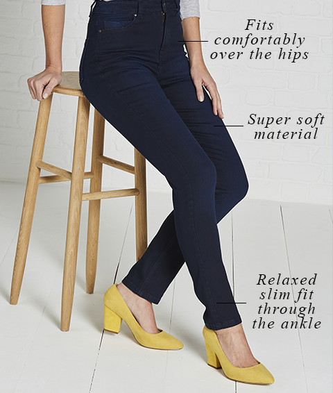 Fits comfortably over the hips   Super soft material   Relaxed slim fit through the ankle