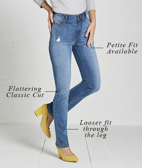 Petite fit available   Flattering classic cut   Looser fit through the leg